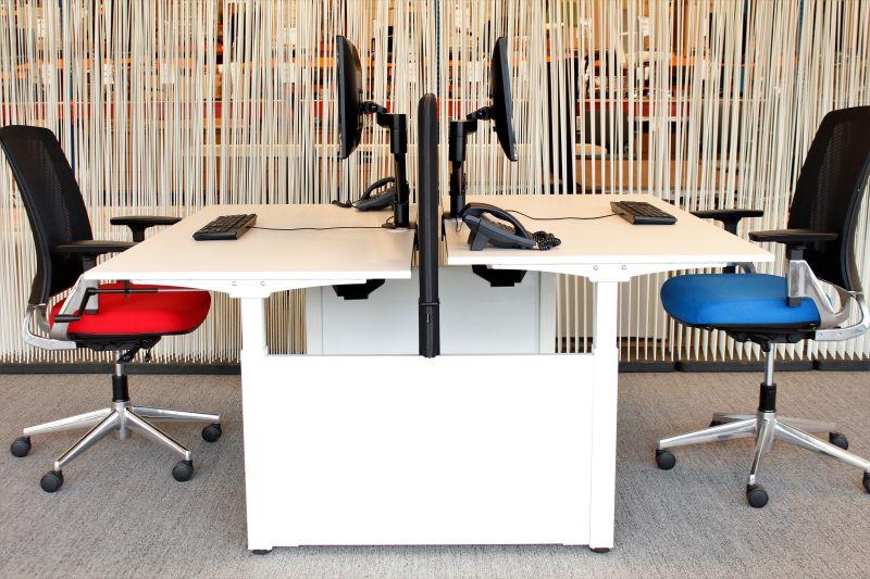 Bench slinger verstelbaar bureau wit wit double van cas slim